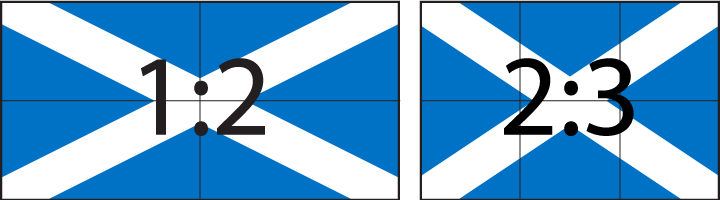 Flag aspect ratios 1:2 and 2:3