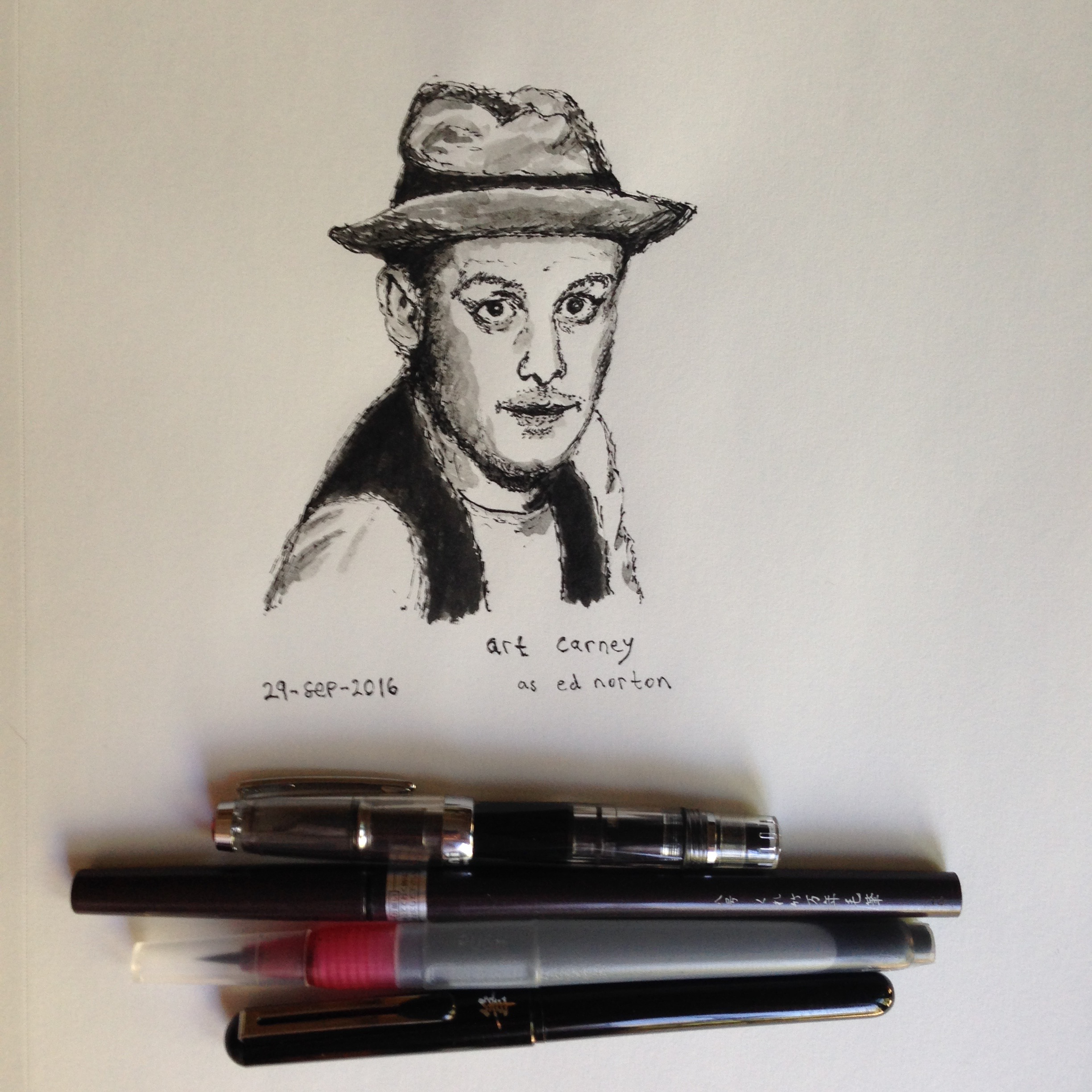 Pen and ink drawing of Art Carney