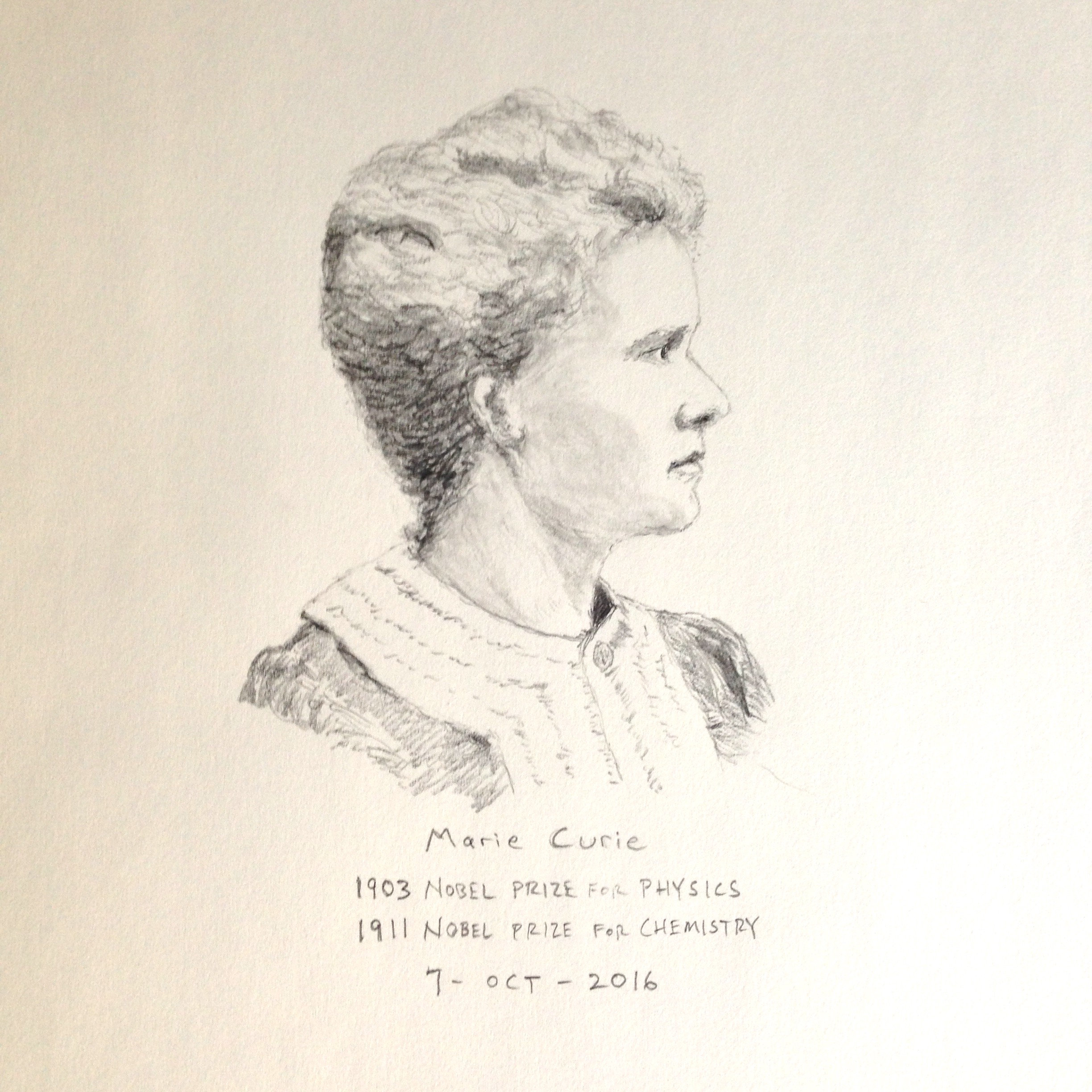 Pencil drawing of Marie Curie