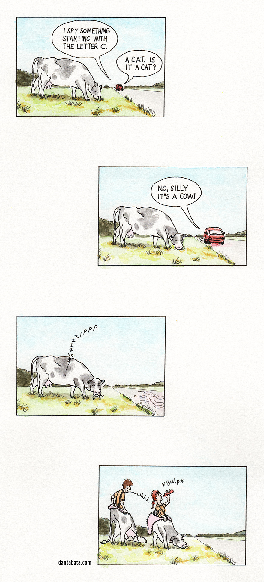 a comic featuring a cow, a car and a guessing game