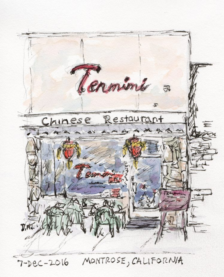 Pen and watercolor drawing of Tenmimi restaurant