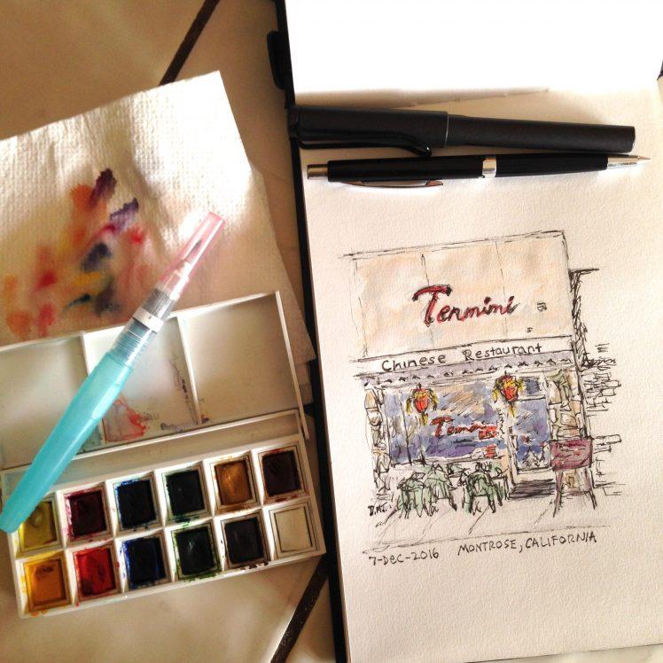 Art tools for urban sketching Tenmimi restaurant