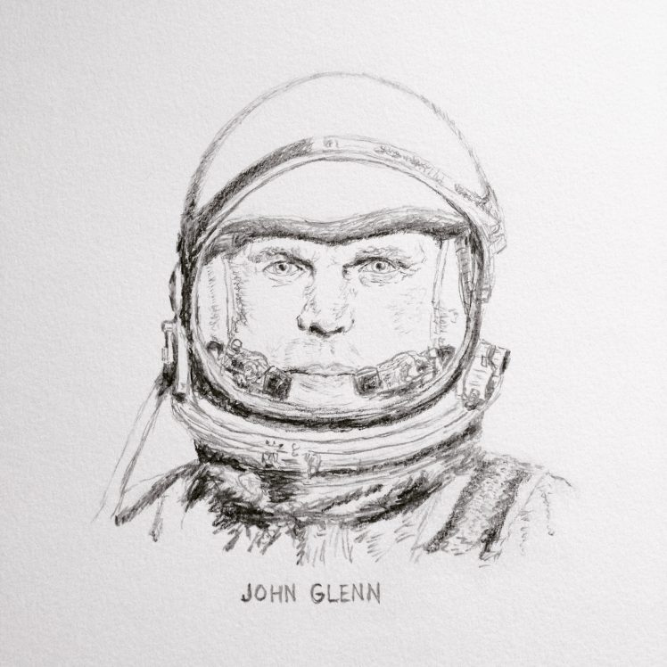 Pencil drawing of John Glenn