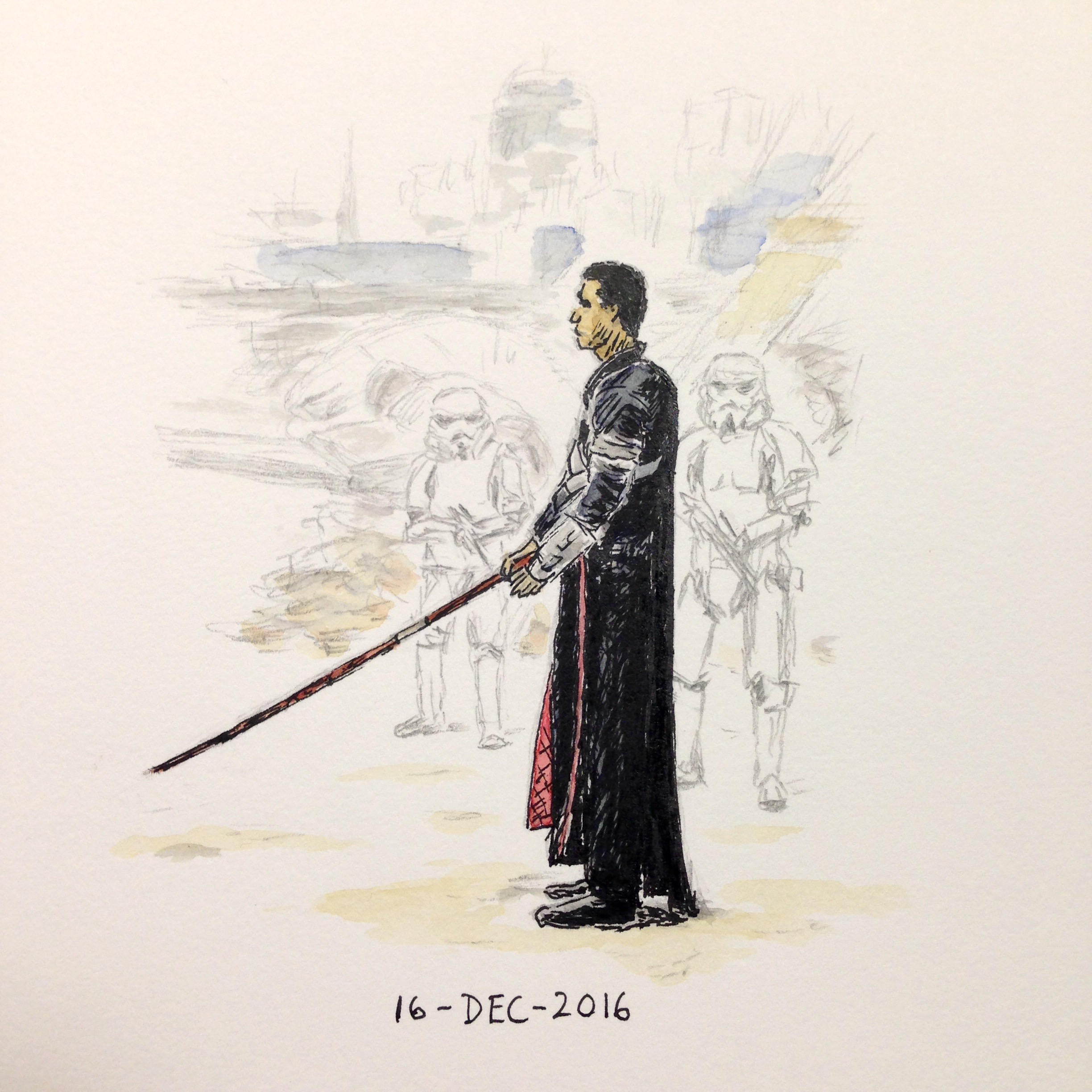 Star Wars fan art drawing of Chirrut Îmwe