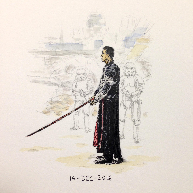 Star Wars fan art drawing of Chirrut Îmwe