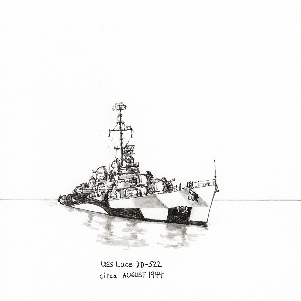 Pen drawing of the USS Luce DD-522