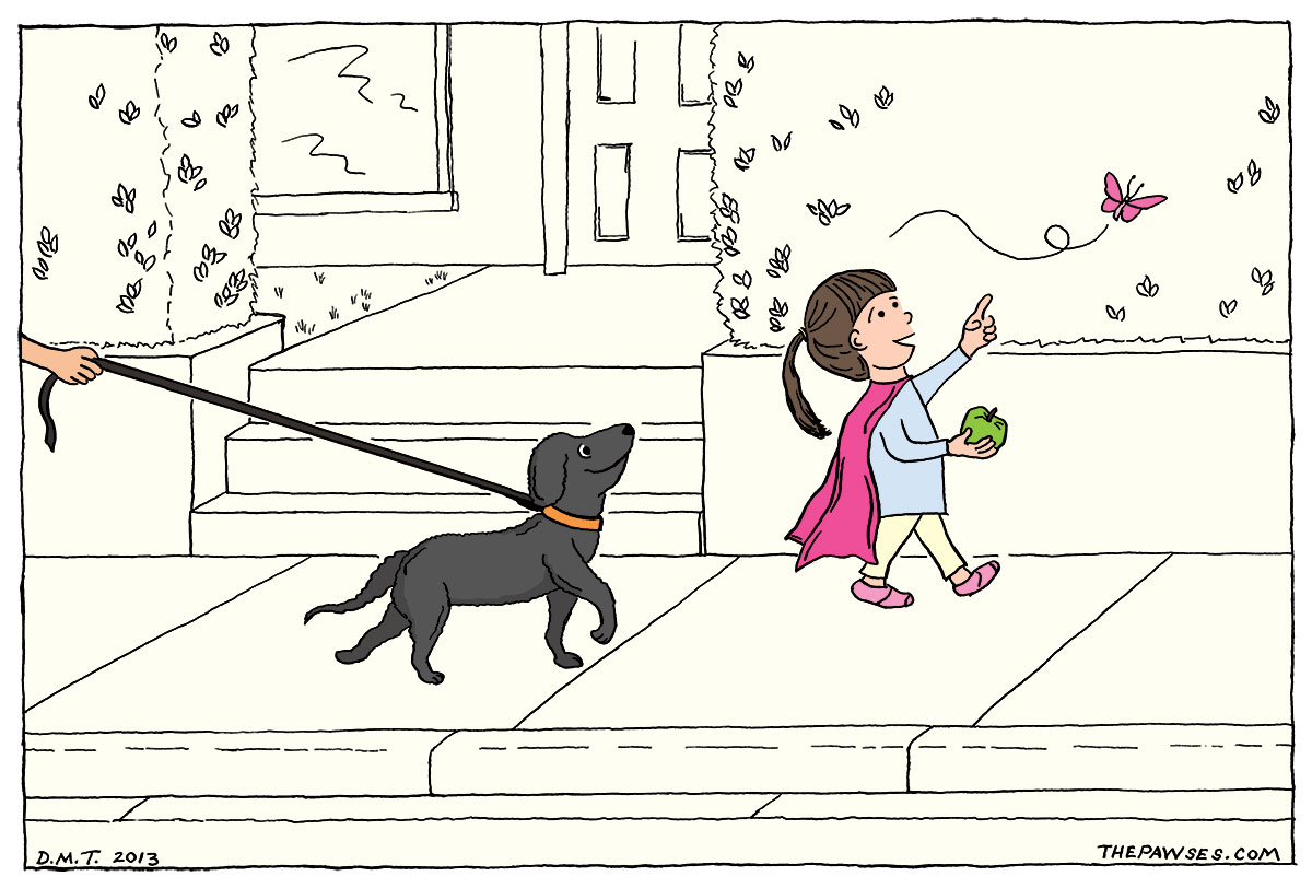 Drawing of a dog following a girl wearing a pink cape