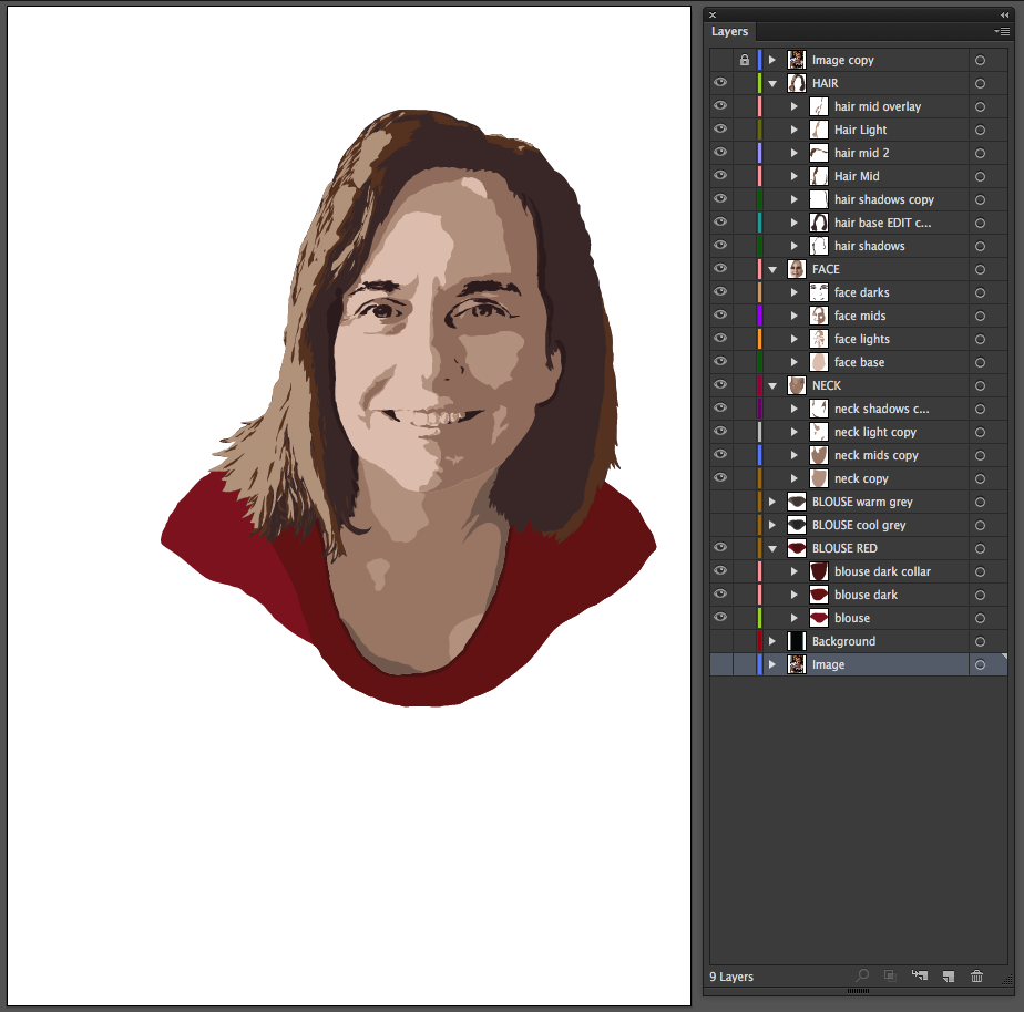 vector portrait tutorial - step 18