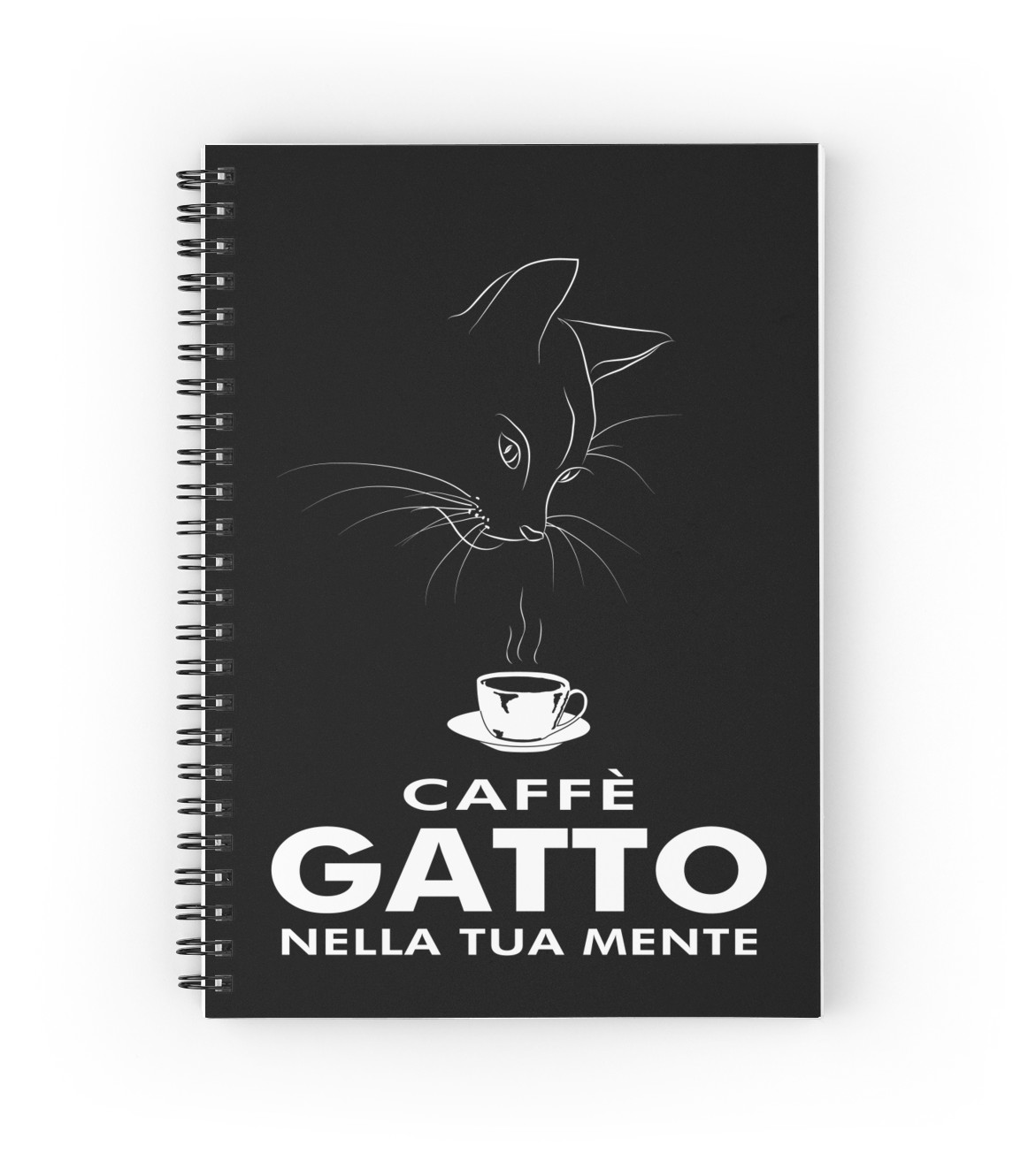 Caffe Gatto artwork printed on spiral notebook