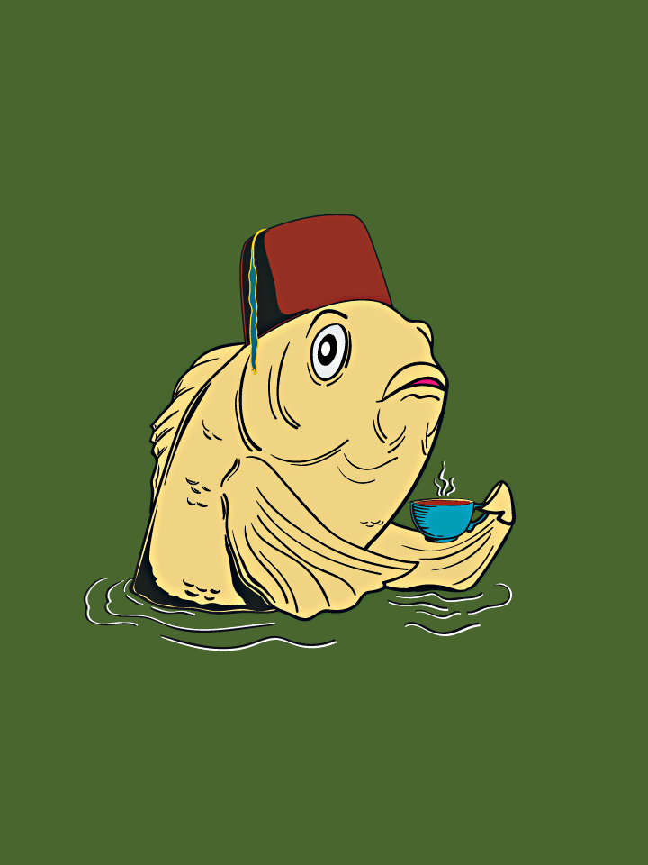 A fez-wearing fish holding a tea cup