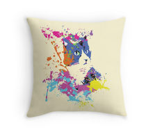 Color Splash Cat design decorating a Redbubble throw pillow