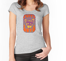 Puppy Love design decorating a Redbubble women's scoop neck t-shirt