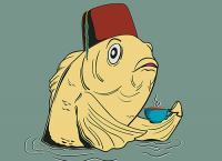 Society6 version of the fez fish