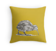 Kiwi bird design decorating a Redbubble throw pillow