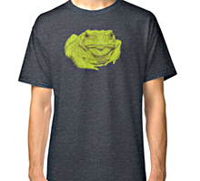 Toad design decorating a Redbubble t-shirt