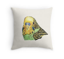 Green parakeet design decorating a Redbubble throw pillow