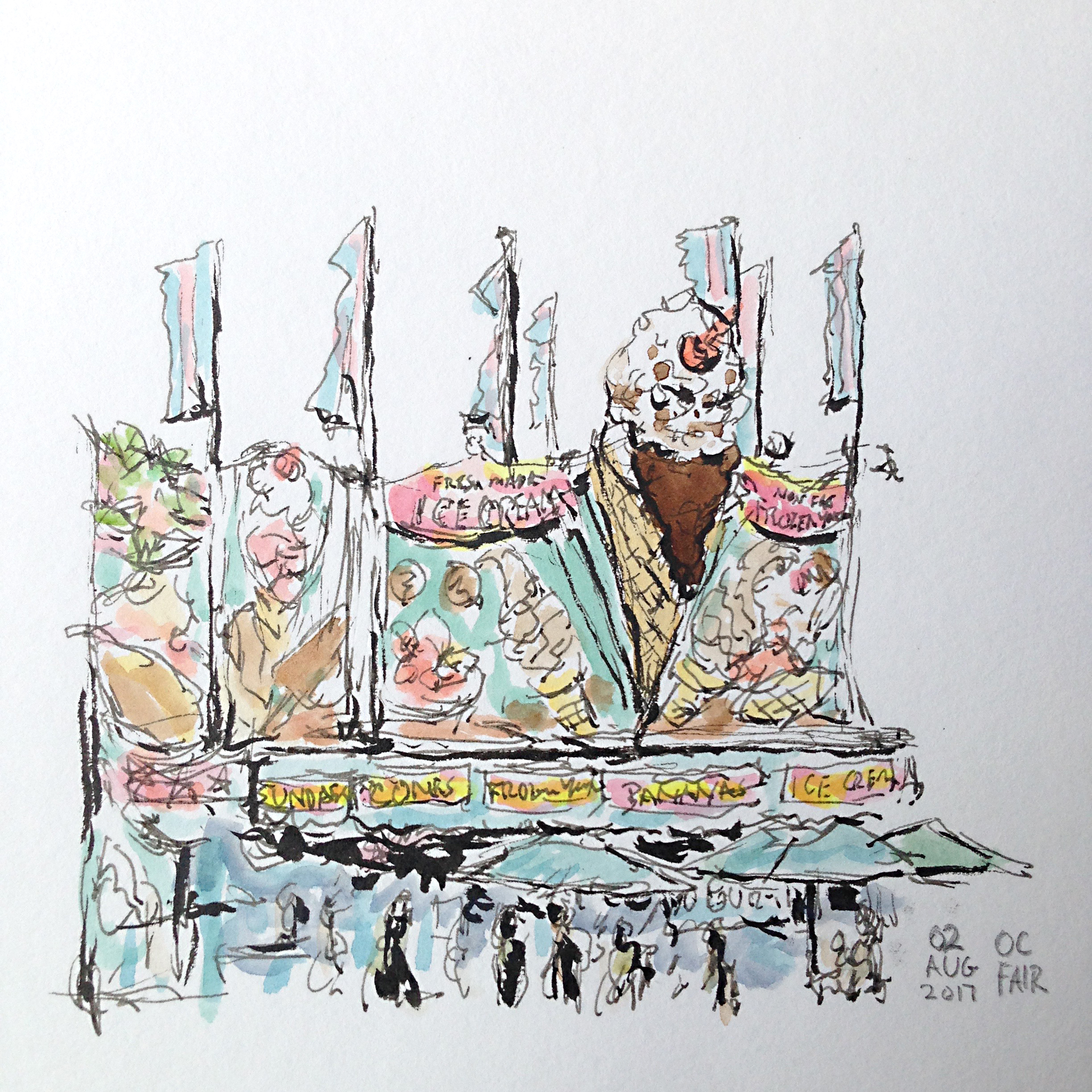 Drawing of an ice cream stand at the Orange County Fair