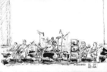 Sketch of Popdudes on stage at the Orange County Fair