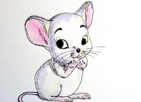 Drawing of a shy mouse