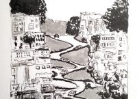 Drawing of Lombard Street in San Francisco, California
