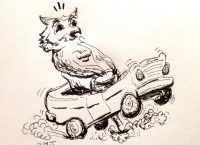 Drawing of an owl driving a car