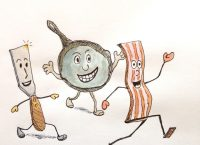 Drawing of a spatula and skillet running after a slice of bacon