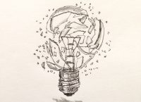 Drawing of a shattering light bulb
