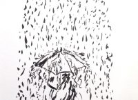 Drawing of a person with an umbrella walking through a downpour