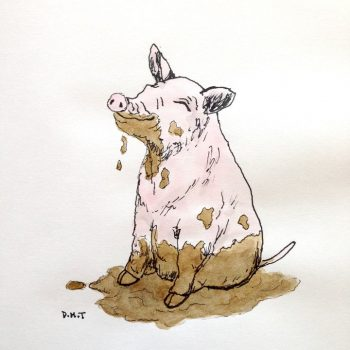 Drawing of a filthy pig