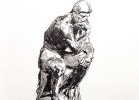 Drawing of The Thinker by Auguste Rodin