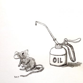 Drawing of a mouse and an oil can