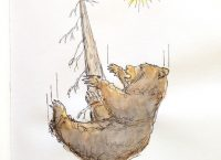 Drawing of a bear falling from a tree
