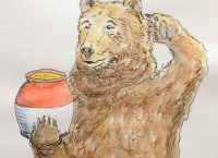 Drawing of a bear looking at a honey pot