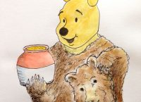 Drawing of Pooh Bear holding a mask and a honey pot