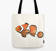 Society6 clownfish tote bag