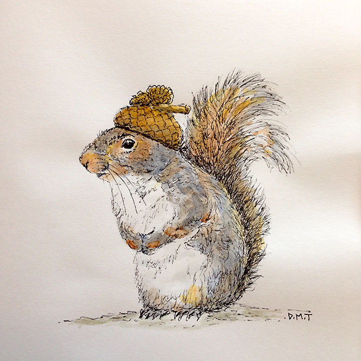 Pen and watercolor drawing of a squirrel wearing an acorn hat