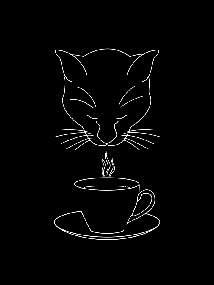 Black and white illustration of a cat savoring a cup of coffee