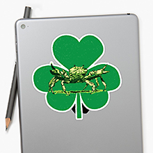 Crab and shamrock on a Redbubble sticker