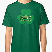 Crab and shamrock on a Redbubble t-shirt