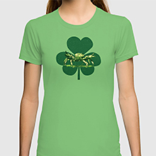 Crab and shamrock on a Society6 t-shirt