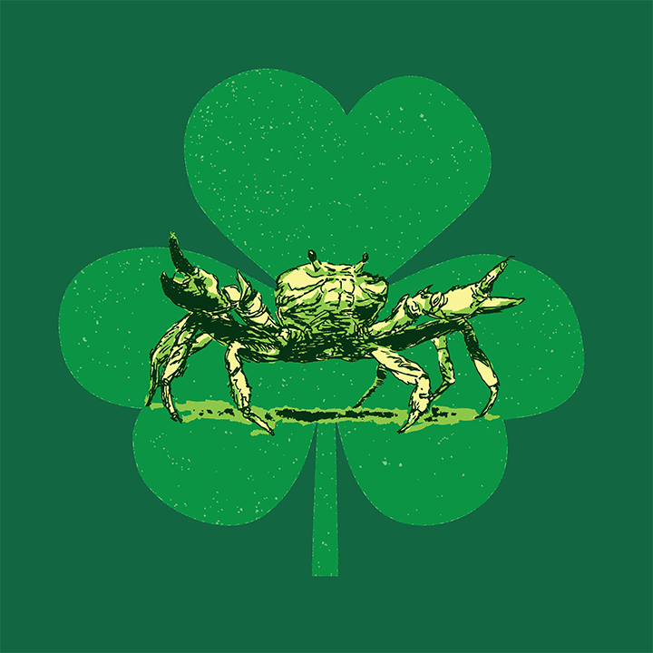 Crab, light green shamrock, and dark green background