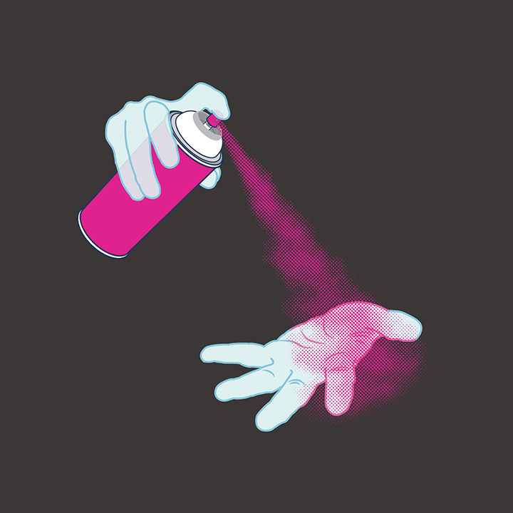 Illustration of ghostly hands and a spray can