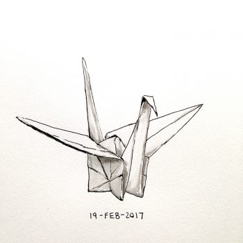 Pen and ink drawing of an origami crane