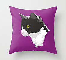 Society6 tuxedo cat throw pillow