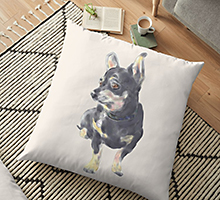 Redbubble little dog waiting floor pillow
