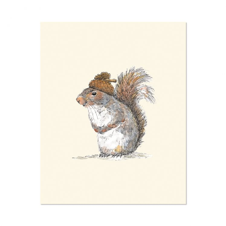 8x10 of Squirrel with an Acorn Hat