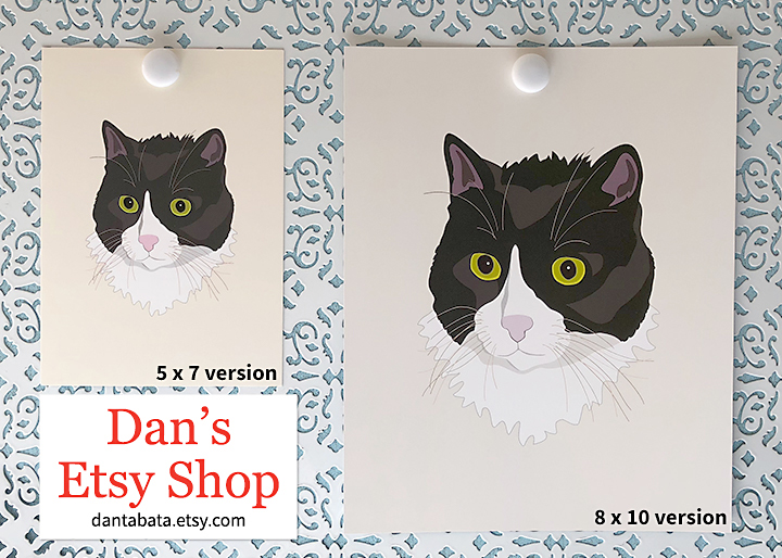 5x7 and 8x10 versions of Casual Cat at Etsy