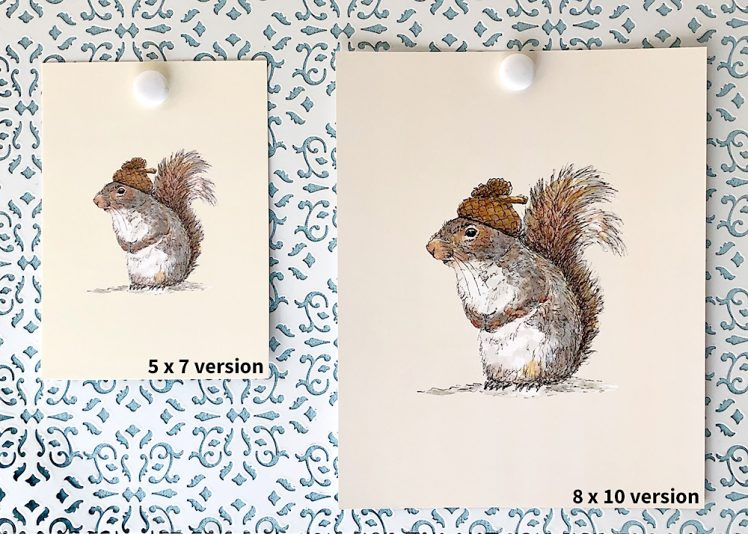 5x7 and 8x10 versions of Squirrel with an Acorn Hat
