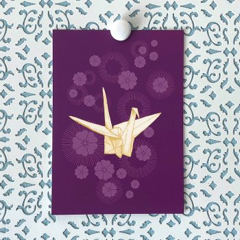 Paper Crane and Cherry Blossoms 5x7 art print