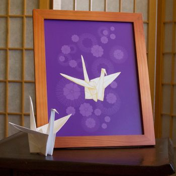 Paper Crane and Cherry Blossoms 8x10 print at Etsy